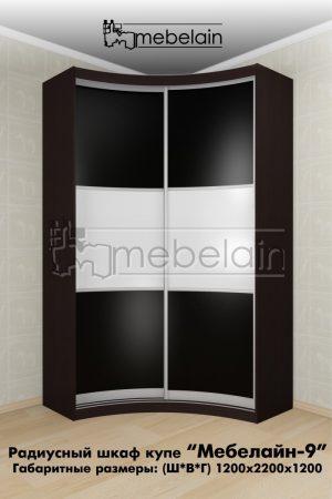 Радиусный шкаф-купе Мебелайн 9 черный в интерьере