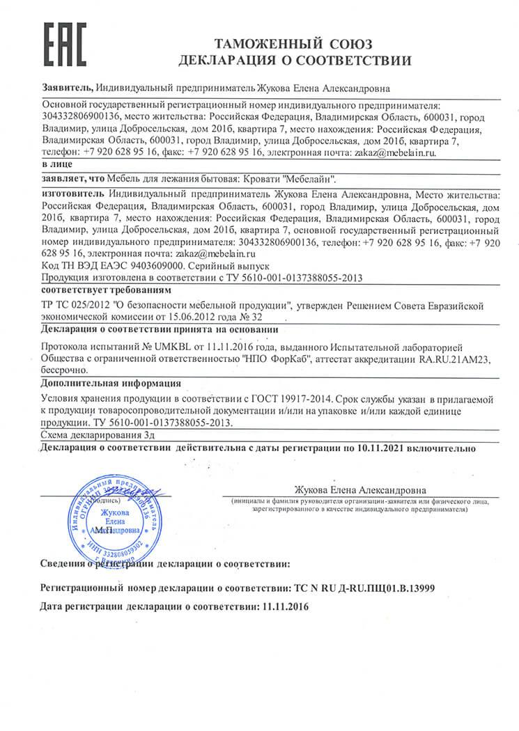 Декларация о соответствии 1