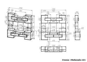 чертеж стенки для гостиной Мебелайн-10