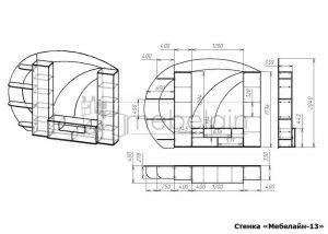 чертеж стенки для гостиной Мебелайн-13