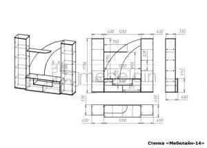чертеж стенки для гостиной Мебелайн-14
