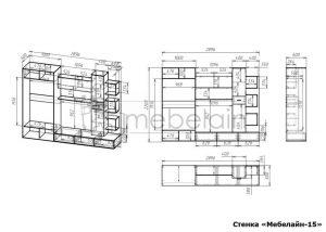 чертеж стенки для гостиной Мебелайн-15