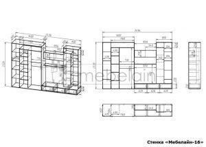 чертеж стенки для гостиной Мебелайн-16