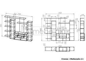 чертеж стенки для гостиной Мебелайн-2