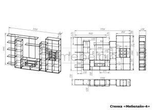 чертеж стенки для гостиной Мебелайн-4
