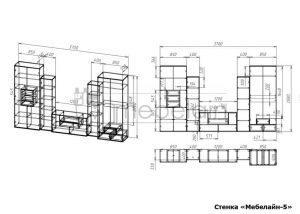 чертеж стенки для гостиной Мебелайн-5