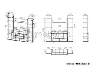 чертеж стенки для гостиной Мебелайн-6