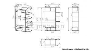 размеры шкафа-купе Мебелайн-10