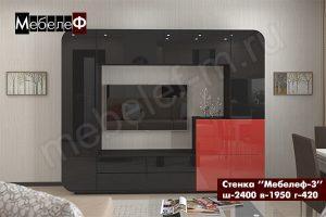 стенка в гостиную Мебелеф-3 черно-красная
