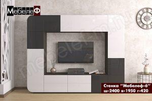 стенка в гостиную Мебелеф-6 бело-черная