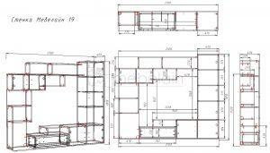 размеры стенки Мебелайн 19