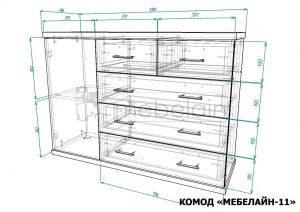 размеры комода Мебелайн-11