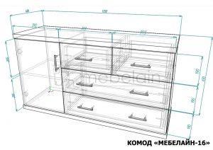размеры комода Мебелайн-16