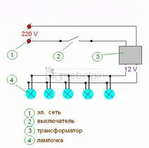 схема подключения освещения реле времени